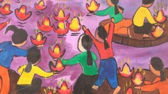 Vẽ tranh đề tài lễ hội hoa đăng đơn giản và ý nghĩa
